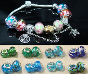 200pcs 925 marked silver glass Bead Charms Fit DIY Bracelet mixed order 8 colors for choices