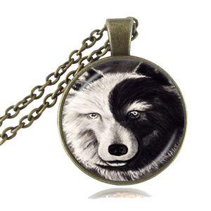 Vetro dell'annata della collana di Yin Yang Tempo gemma di gioielli lupo Animal Bianco Nero Ciondolo Tai Chi simbolo maglione della collana