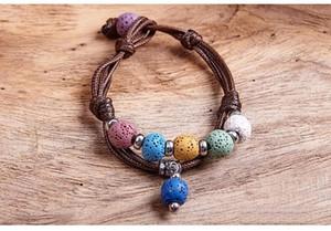 Mode Bohème Multicolore Bracelet En Pierre De Lave Pour Femmes Hommes Bijoux Tissage Cuir Huile Essentielle Diffuseur Bracelet