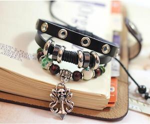 Alloy Charm Cuffed Armbänder Schädel Punklegierungs-Schädel Bunte Perlen Lederarmband Punk-Stulpe-Armband-Leder DHL-Weihnachtsgeschenk