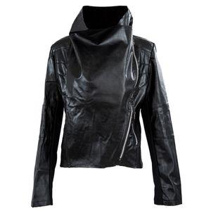 Al por mayor-FS Hot Womens Slim Motorista motocicleta PU cremallera chaqueta de cuero suave S-XXL