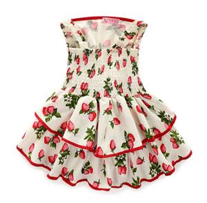 2016 été doux enfants bébé filles Strapes robes Strawberry Print Tunique élastique Princesse Party Dress Vêtements K7510