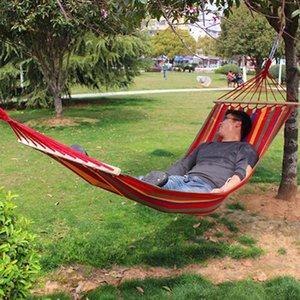 휴대용 캔버스 패브릭 단일 사람 야외 가구 해먹 더블 스프레더 바 그물 침대 야외 캠핑 스윙 매달려 침대