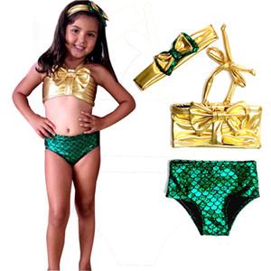 Prettybaby çocuklar kızlar Sequins Mermaid Ilmek yular boyun tops + ölçekli pantolon + kafa 3 adet set suits çocuk yüzme suit Pt0391 # mi