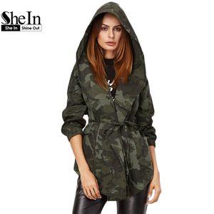 Al por mayor de la chaqueta de las mujeres Shein primavera informal de vestir exteriores para mujer de color verde oliva impresión de Camo con capucha cuello esmoquin abrigo con cinturón chaqueta