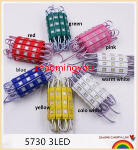 imperméable à l'eau 5730 3LEDs module de moulage par injection de LED modules lumineux super lumineux allumant rouge / vert / bleu / jaune / rose / chaud 500pcs 12V