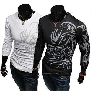 Tatuagem Impressão T Shirt Dos Homens de Manga Longa Nova Moda Mens Marca de Roupas Casuais Slim Fit O pescoço Algodão Tshirt Tees CJ145