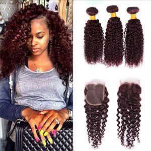 99j burgundy brazilian 곱슬 곱슬 한 버진 머리카락 (4x4 마감) brazilian human curly hair weave 무료 미들 레이스 클로저 3 개 묶음