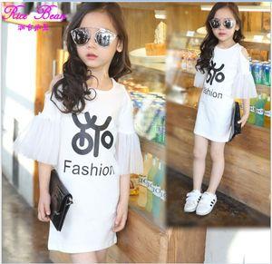 Big Girl Summer Dress 2018 Nouvelle Arrivée Enfants Long T-shirt Enfants Vêtements Mode Filles Coton Casual T-shirt 120-160cm 5pcs / lot