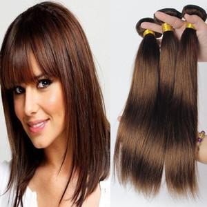 Grade 7A !!! # 4 Middium Brown brasilianisches reines Remy-Haar seidige gerade Webart 3pcs viel Schokolade Mokka brasilianisches gerades Menschenhaar Bundles