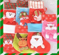 16.5 * 12 cm Meias de Natal Das Crianças Meias Decoração Bonito Saco de Doces Meias Enfeites de Árvore de Natal Decorações Cor Aleatória