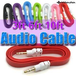 Mp3 Mp4 Samsung 1M 3 ft AUX Ses Kablosu Düz Noodle için Renkli 3.5mm AUX Ses Kablosu Kordon