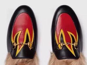 yüksek kalite! U638 40/41/34 hakiki deri tavşan saç slayt ayakkabı terlik kürk sneaker dudaklar yangın çiçek emboideried