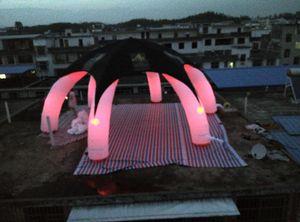 aluguer novo estilo personalizado pano capa preta tenda aranha inflável para decoração do partido com iluminação LED colorido