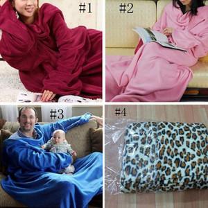 Weiche lange Ärmel Decken Coral Fleece Pyjamas mit gemütlichen Ärmeln Wearable Sleeve Klimaanlage Decke 4 Farben YW74