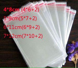 4 * 8 cm 5 * 9 cm 6 * 11 cm 7 * 12 cm 1000 stücke lot Flap Seal Selbstklebende Dichtung Polybeutel Opp Verpackung Klar Plastiktüte wholesale freies verschiffen