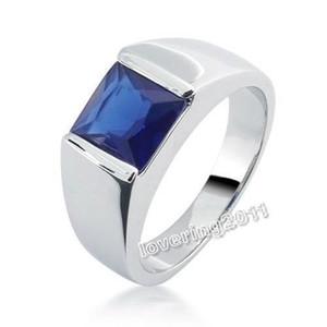 Frete grátis 100% novo tamanho 8-12 jóias Antique 925 prata princesa corte azul safira anel de casamento para presente de amor