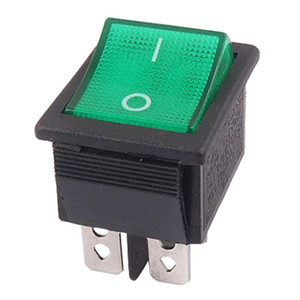 5 piezas de promoción! Green Light 4 pin DPST ON / OFF Snap en interruptor oscilante para barcos 16A / 250V 15A / 125V AC