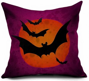 Halloweenpillow حالة الديكور الخفافيش البومة الطباعة المطبوعة الزخرفية غطاء وسادة وسادة أريكة ديكور المنزل ساحة رمي حلية هدية