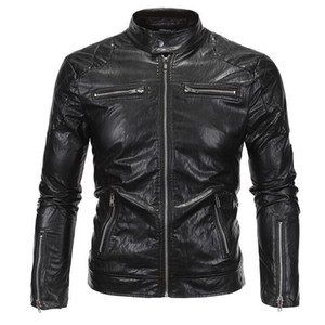 Atacado 2017 New Arrivals David Same Stye Real Leather Jacket Big Size 5XL Homens Motorcycle Vintage Fashion A3079 Jacket