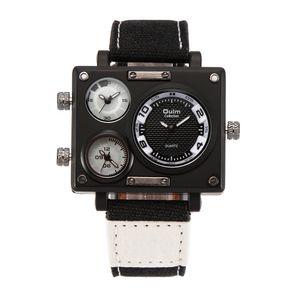 2016 OULM Vogue Relógios Masculinos Tecido de Quartzo Fuso Horário Múltipla Fuso horário Relógios de Pulso Relogio masculino Tonneau Três movimento Assista OU84