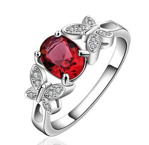 Gümüş Kaplama Düğün Kübik Zirkonya Yüzük Kırmızı / Şampanya Kelebek Taş Yüzük Hayvan Jewelrys Kadınlar Bayanlar Için Sıcak Satış