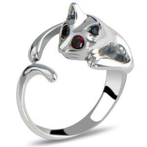 여자를위한 반지 사랑스러운 조정 가능한 새끼 고양이 고양이 동물의 크리스탈 은색 금도금 합금 반지