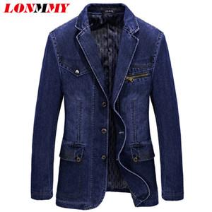 Großhandel - LONMMY DENIM BLAZER Männer Baumwolle Jeans Blazer und Jacken Anzüge für Männer Jacke Cowboy Jaqueta Masculino Slim Fit Mode L-3XL