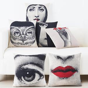 Europeu face Desenhos Vintage capa de almofada Red Lips Olhos fronhas Caso Sofá decorativa lençóis de algodão Almofadas Almofadas