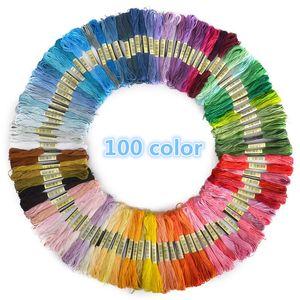 Neue 100 stücke Mix Farben Baumwolle Nähen Stränge Stickgarn Kreuzstich Floss Sewing Strang Threads Bestnote
