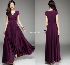 V-Ausschnitt Kurzarm Lange Chiffon Brautjungfernkleider Rüschen Elegante A Line Prom Kleider 2019 bodenlangen Burgund Hochzeit Kleid