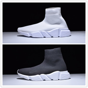 حار بيع 2017 الأزياء سرعة جورب عارضة أحذية رجل إمرأة سرعة منتصف الانزلاق على حذاء رياضة الاحذية تمتد شبكة عالية أعلى أبيض أسود