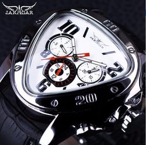 Jaragar Sport Fashion Design Herrenuhren Top-Marke Luxus-Automatikuhr Dreieck 3 Dial Display Echtlederband Uhr