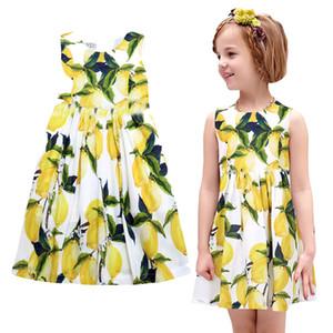 Prettybaby niños niñas sin mangas de estilo Pastoral vestido de fiesta princesa digital limón impreso chica fresca verano sundress Pt0547 #