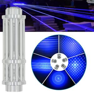 Barata alta qualidade 450nm 5in1 Super Blue Laser ponteiros tocha foco ajustável jogo papel ponteiro caneta 5 tampas + carregador + caixa