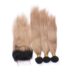 3Bundles 4pcs Lot ile Dantel Kapatma Düz 1B / 27 İki Ton Ombre 4x4 Dantel Ön Kapanış ile Perulu Bal Sarışın Ombre İnsan Saç