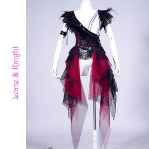 Wholesale-Gothic Black Punk Rock Feather Chain Decor Lace Stage Wear Party Dress for Girls