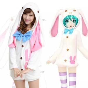 Anime Vocaloids V Miku Hatsune Bunny orejas de conejo pijamas Anime Cosplay Disfraz Adulto Onesie ropa de dormir