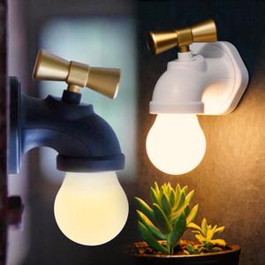 Yaratıcı Musluk Tipi Akıllı Ses Kontrolü LED Gece Lambası USB Şarj Edilebilir Dokunun Gece Lambası Ev Koridor Aydınlatma Çocuklar