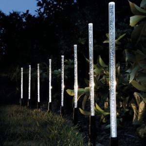 8pcs Solar Power Tube Lights Lampes acrylique Bulle Pathway Pelouse Paysage Décoration de jardin Bâton Stake Lampe Set
