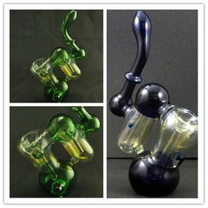 Bongs Oil Pipes Height 7.87inch Double Recycler Glass Bubbler Water Glass Pipes Double Sink Glass Pipe Glass Smoking Smoking Water Pipes