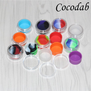 wholesale 5ml clear plastic acrylic wax containers silicone jar dab wax containers , silicone dab jar glass oil containers free shipping DHL