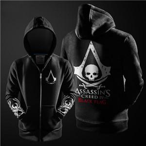 Оптовая Продажа-Мода Косплей Костюм Флисовая Подкладка Пальто С Капюшоном Куртки Assassins Creed Толстовка Черный Серый