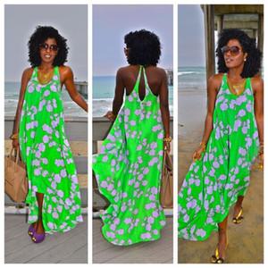 2016 Summer Bohemian Sleeveless Casual Women Ethnic Printed Sexy Spaghetti Strap Long Beach Maxi Dress Casual Asymmetry Loose dress Vestidos