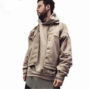 2017 Men Denim Jacket Black Khaki Solid Slim Ftted Coat Leisure Fashion Retro Hole Basic Jacket