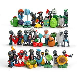 Free shipping 40pcs set Plants vs. Zombies Toys Bucket Zombie 4.5-8cm PVC Minifigures Action Figures E1090