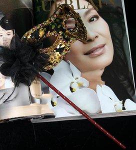 Masques de fête avec bâton de mariage vénitien demi visage masque de fleurs masque de mascarade Halloween princesse danse parti masques 7 couleur