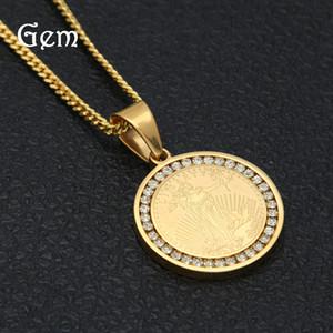 Hiphop LIBERTY Shield collane del pendente per gli uomini 2020 nuovo Hiphop oro 18K placcato lusso partito all'Ingrosso