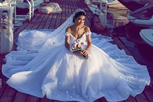 2017 abbigliamento modesto detto mhamad spalle sposa sexy del partito degli abiti aperto indietro Applique Pieghe Custom Made Wedding cinese