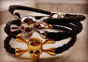 BC New Arrived Snake Python Leather Gold Plated StingHD Skull Bracelets for Man Gift
